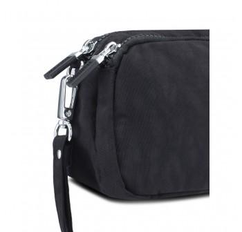 BAGSTATIONZ Crinkled Nylon Wristlet Pouch-Black