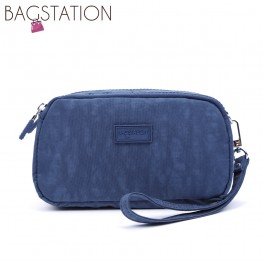 BAGSTATIONZ Crinkled Nylon Wristlet Pouch-Navy Blue