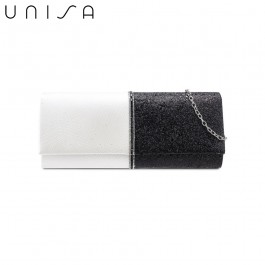 UNISA Duo Textured Dinner Clutch With Glittering Stones & Crystal-Black