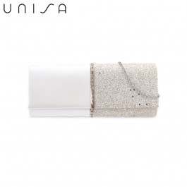 UNISA Duo Textured Dinner Clutch With Glittering Stones & Crystal-Gold