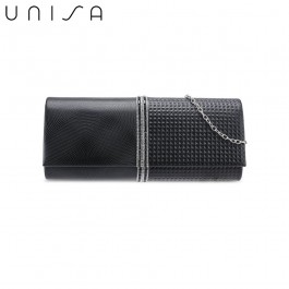UNISA Deboss Pattern Dinner Clutch With Glittering Stones & Crystal-Black