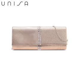 UNISA Deboss Pattern Dinner Clutch With Glittering Stones & Crystal-Apricot