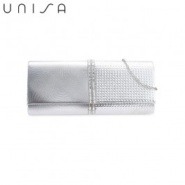 UNISA Deboss Pattern Dinner Clutch With Glittering Stones & Crystal-Silver
