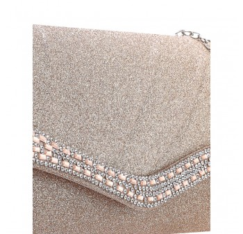 UNISA Pleated Dinner Clutch With Glittering Stones & Crystal Embellishment-Apricot