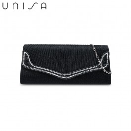 UNISA Pleated Dinner Clutch With Glittering Stones & Crystal Embellishment-Black