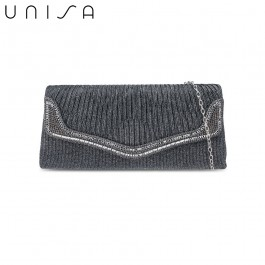 UNISA Pleated Dinner Clutch With Glittering Stones & Crystal Embellishment-Grey
