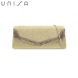 UNISA Pleated Dinner Clutch With Glittering Stones & Crystal Embellishment-Gold