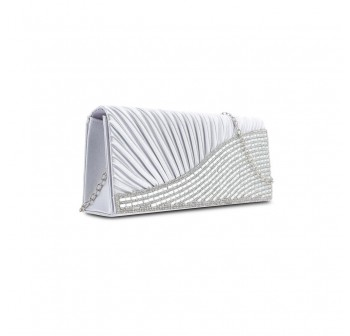 UNISA Pleated Dinner Clutch With Glittering Stones & Crystal Embellishment-Silver