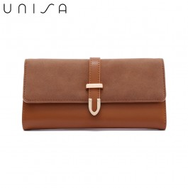 UNISA Duo-Texture Tri-Fold Wallet With Strap-Brown