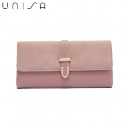 UNISA Duo-Texture Tri-Fold Wallet With Strap-Pink
