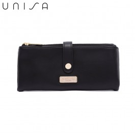 UNISA Faux Leather Double Zip Long Ladies Wallet-Black