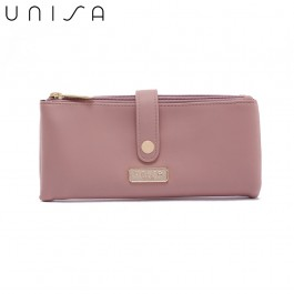 UNISA Faux Leather Double Zip Long Ladies Wallet-Pink