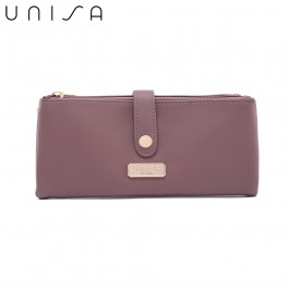 UNISA Faux Leather Double Zip Long Ladies Wallet-Purple
