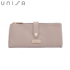 UNISA Faux Leather Double Zip Long Ladies Wallet-Taupe