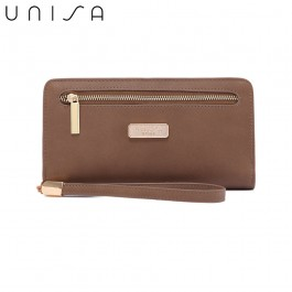 UNISA Faux Leather Bi-Fold Long Wallet With Strap-Khaki