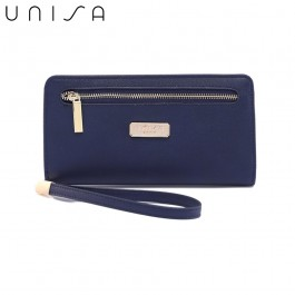 UNISA Faux Leather Bi-Fold Long Wallet With Strap-Navy Blue