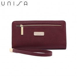 UNISA Faux Leather Bi-Fold Long Wallet With Strap-Maroon