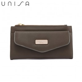 UNISA Faux Leather Double Zip Long Wallet-Green