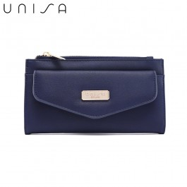 UNISA Faux Leather Double Zip Long Wallet-Navy Blue