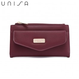 UNISA Faux Leather Double Zip Long Wallet-Maroon