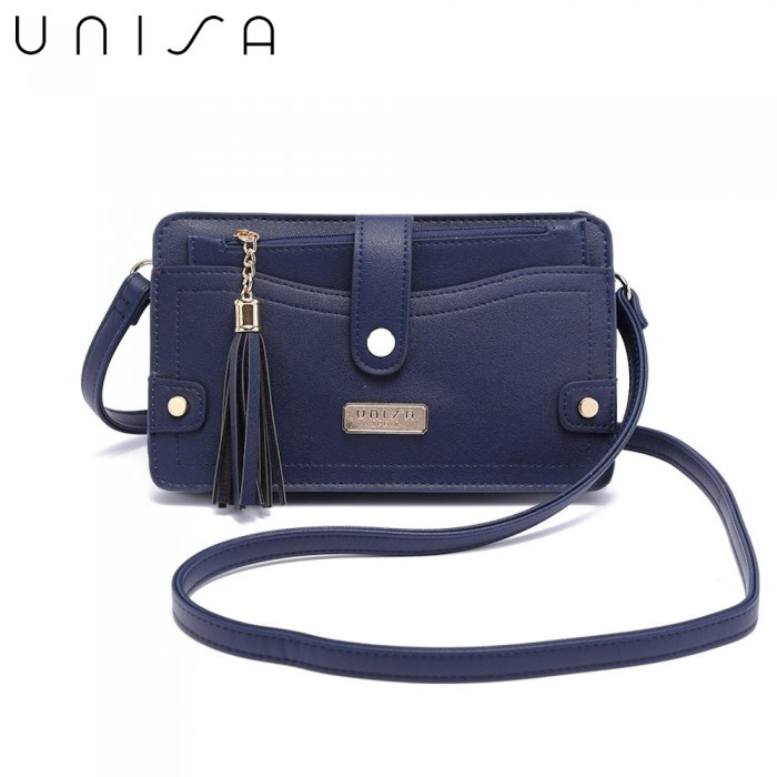 287dd3688b UNISA Faux Leather Mini Sling Bag With Detachable Wristlet-Navy Blue
