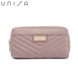 UNISA Quilted Double Zip-Up Wallet-Taupe