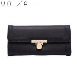 UNISA Faux Leather Bi-Fold Wallet With Flip-Lock-Black