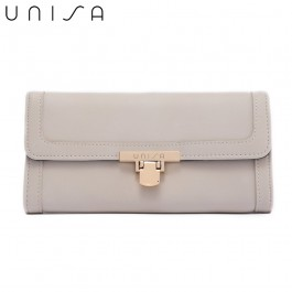 UNISA Faux Leather Bi-Fold Wallet With Flip-Lock-Beige