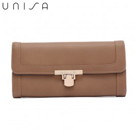 UNISA Faux Leather Bi-Fold Wallet With Flip-Lock-Khaki