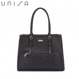 UNISA Faux Leather Large Work Tote Bag-Black