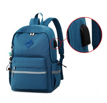BAGSTATIONZ Fashion Laptop Backpack-Navy Blue