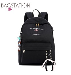 BAGSTATIONZ Fashion Laptop Backpack-Black