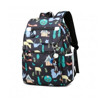BAGSTATIONZ Printed Nylon Backpack-Black