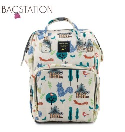 BAGSTATIONZ Printed Travel Diaper Backpack-Beige