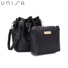 UNISA Faux Leather Bucket Bag-Black