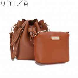 UNISA Faux Leather Bucket Bag-Brown