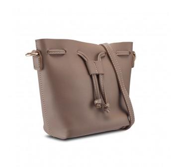 UNISA Faux Leather Bucket Bag-Khaki