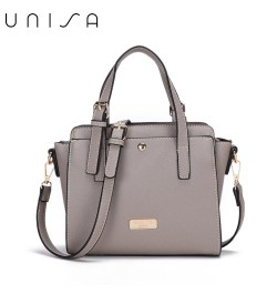 UNISA Saffiano Convertible Satchel-Grey
