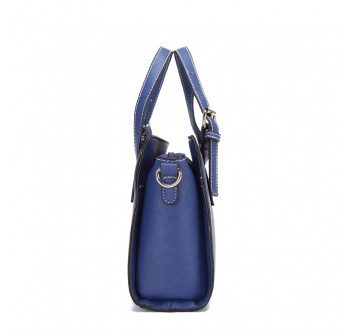 UNISA Saffiano Convertible Satchel-Navy Blue