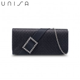 UNISA Dinner Clutch With Glittering Stones Embellishment-Black