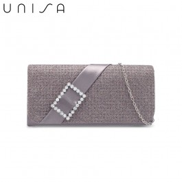 UNISA Dinner Clutch With Glittering Stones Embellishment-Grey