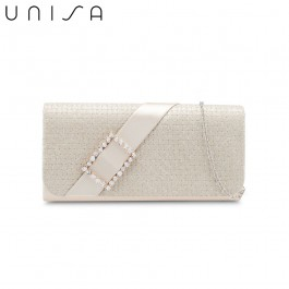 UNISA Dinner Clutch With Glittering Stones Embellishment-Gold