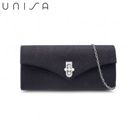 UNISA Dinner Clutch With Pearl Embellishment Turn Lock-Black