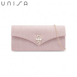 UNISA Dinner Clutch With Pearl Embellishment Turn Lock-Apricot