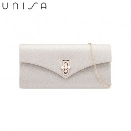 UNISA Dinner Clutch With Pearl Embellishment Turn Lock-Gold