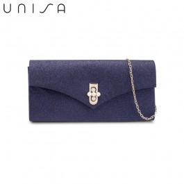 UNISA Dinner Clutch With Pearl Embellishment Turn Lock-Navy Blue