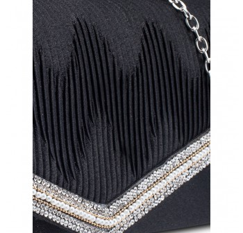 UNISA Pleated Clutch With Glittering Stones Embellishment-Black