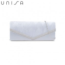UNISA Pleated Clutch With Glittering Stones Embellishment-Silver