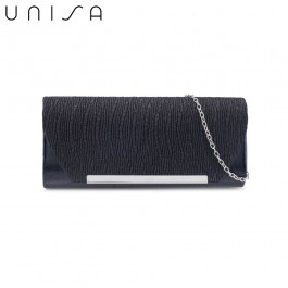 UNISA Duo-Texture Metal Bar Dinner Clutch-Black
