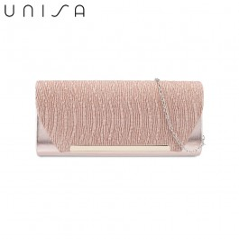 UNISA Duo-Texture Metal Bar Dinner Clutch-Apricot